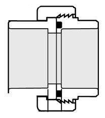 "3/4"" PVC Straight Union - SCH 40, Socket"