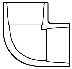 "2"" PVC 90D Straight Elbow - SCH 80, Socket"