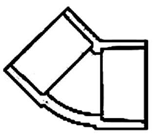 """2"""" PVC 45D Straight Elbow - SCH 80, Socket, Short Radius"""