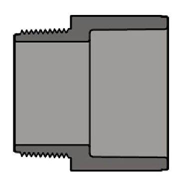 "2"" PVC Male Straight Adapter - SCH 80, MPT x Socket"