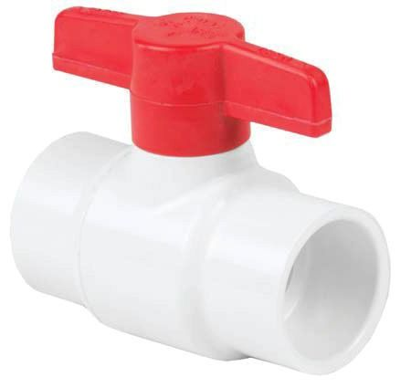 "1-1/2"" PVC Full Port Ball Valve - 1/4 Turn T-Handle, Socket, 150 psi"