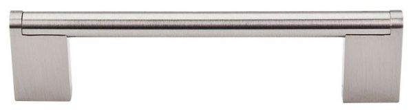 """Brushed Satin Nickel Cabinet Princetonian Bar Pull - Bar Pulls, Contemporary Style, 5-1/16"""" Center to Center, Steel"""