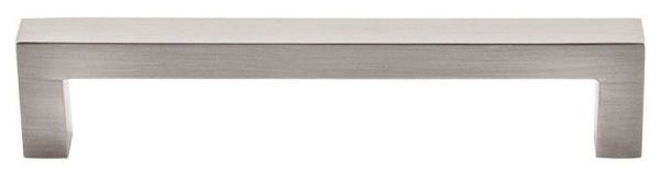 "Brushed Satin Nickel Cabinet Square Bar Pull - Asbury / Nouveau III, Contemporary Style, 5-1/16"" Center to Center, Zinc Alloy"