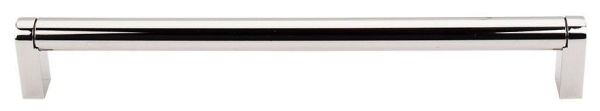 """Polished Nickel Cabinet Pennington Bar Pull - Asbury, Contemporary Style, 8-13/16"""" Center to Center, Steel"""