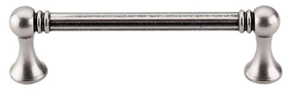 """Pewter Antique Cabinet Grace Pull - Edwardian, Traditional Style, 3-3/4"""" Center to Center, Zinc Alloy"""