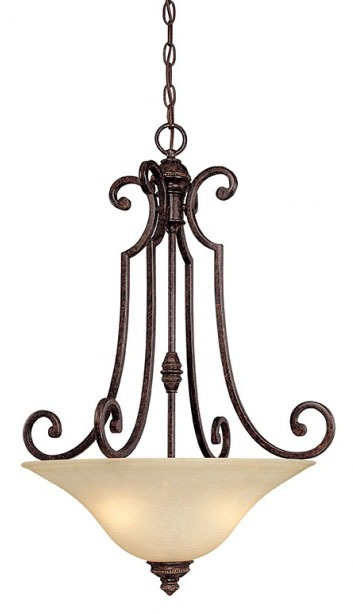 3-Light 100 W Incandescent Pendant Light Fixture - Barclay, Traditional Style, Chesterfield Brown, Medium Base