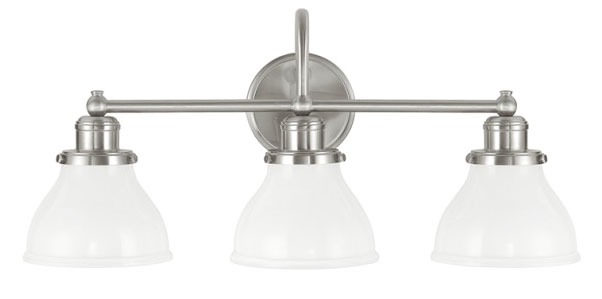 3-Light 100 W Incandescent Bath Vanity Light Fixture - Baxter, Classic Style, Brushed Nickel, Medium Base