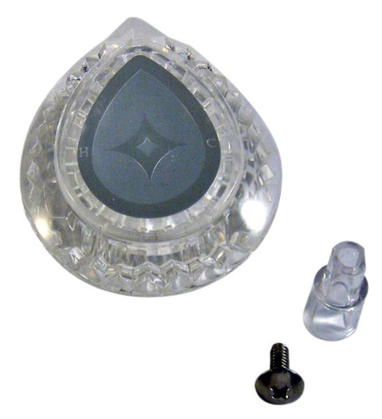 Clear Acrylic Knob Teardrop Faucet Handle Insert - Multi-Fit, Hot / Cold