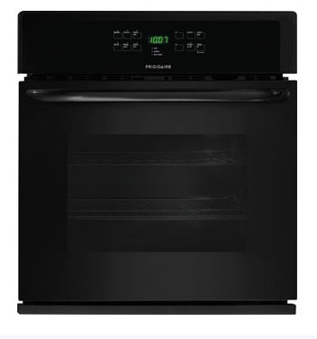 "30"" Black Electric Wall Oven - Frigidaire, Single, Built-In, 208/240 VAC, 4.6 Cu Ft"
