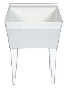 Floor Mount Single Bowl Utility Sink - White