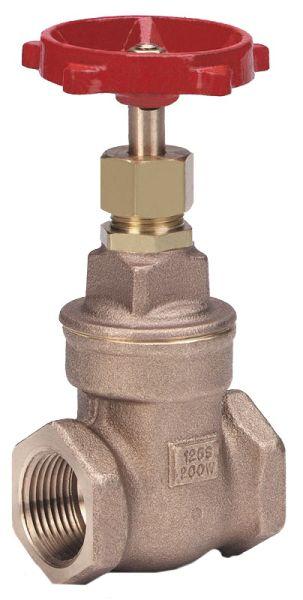 """1"""" Bronze Solid Wedge Gate Valve - Handwheel, FPT, 200 psi WOG, 125 psi SWP"""