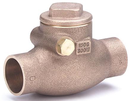 "3/4"" Bronze Swing Check Valve - Soldered, 200 psi WOG, 125 psi SWP"