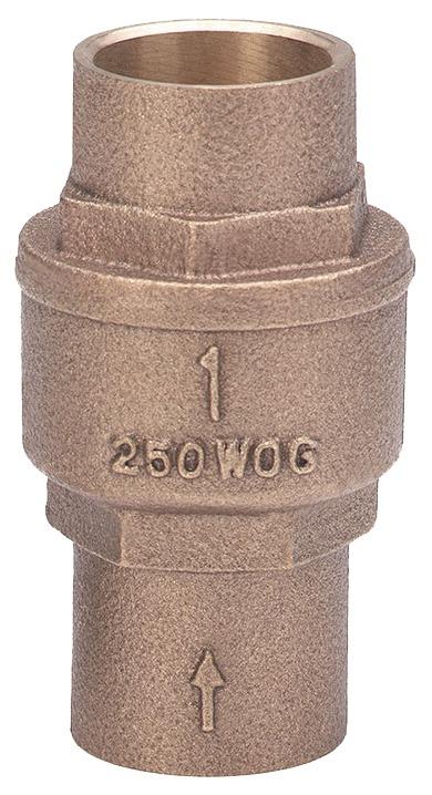"""2"""" Cast Bronze Spring Loaded Lift Check Valve - Soldered, 250 psi WOG"""