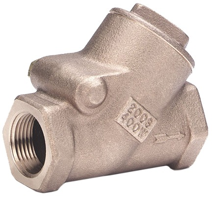 """1-1/2"""" Cast Bronze Y-Pattern Swing Check Valve - FPT, 400 psi WOG, 200 psi SWP"""