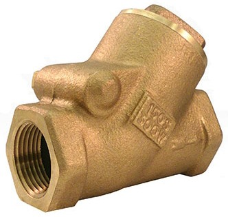"1"" Cast Bronze Y-Pattern Swing Check Valve - FPT, 300 psi WOG, 150 psi SWP"