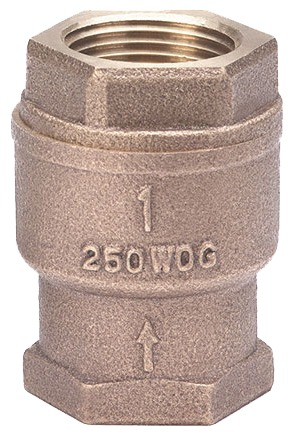 "1"" Cast Bronze Spring Loaded Lift Check Valve - FPT, 250 psi WOG"