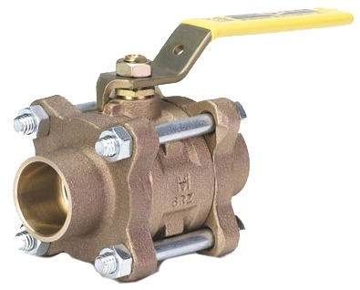"1/2"" Bronze Full Port Ball Valve - Lever Handle, Soldered, 150 psi SWP, 600 psi WOG"