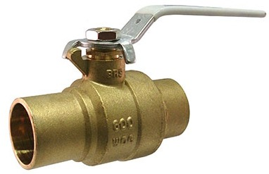 """2-1/2"""" Forged Brass Full Port Ball Valve - UltraPure, Lever Handle, Soldered, 400 psi WOG"""