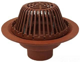 "4"" No Hub Roof Drain - Bottom Outlet, Mushroom Dome, Cast Iron"