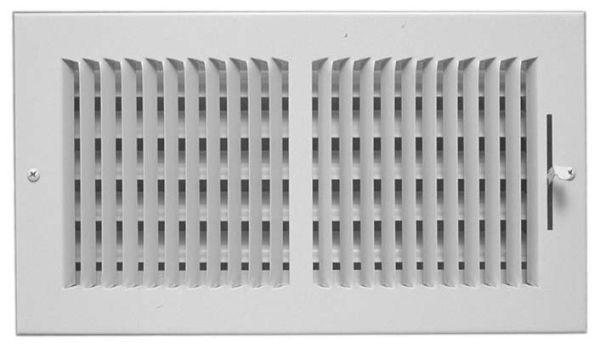 "10"" x 6"" Steel 2-Way Register - Bright White, Multi-Shutter Damper with Lever"