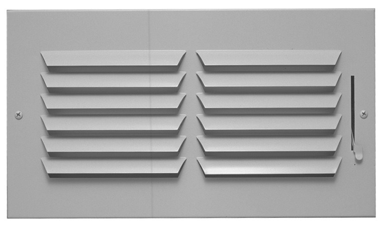 "14"" x 6"" Steel 1-Way Register - Bright White, Multi-Shutter Damper, Horizontal, Stamped Curved Blade"