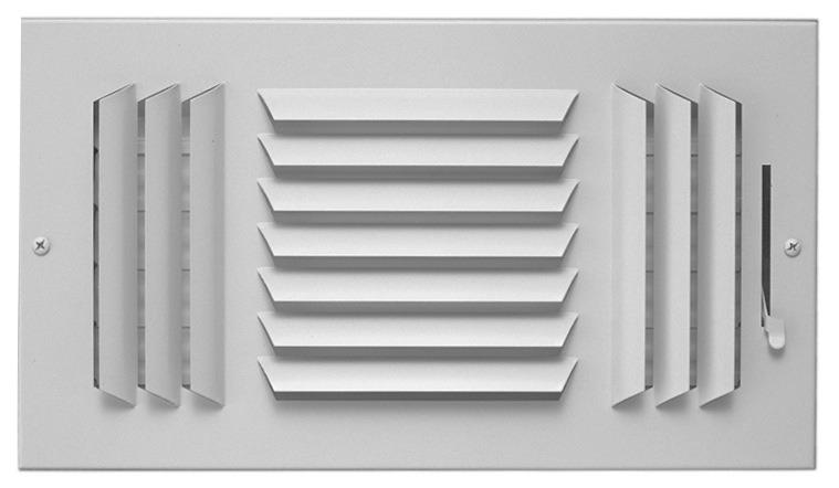 "14"" x 8"" Steel 3-Way Register - Bright White, Multi-Shutter Damper, Stamped Curved Blade"
