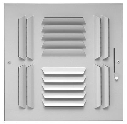 "14"" x 14"" Steel 4-Way Register - Bright White, Multi-Shutter Damper, Stamped Curved Blade"