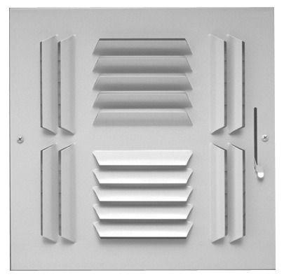 "12"" x 12"" Steel 4-Way Register - Bright White, Multi-Shutter Damper, Stamped Curved Blade"