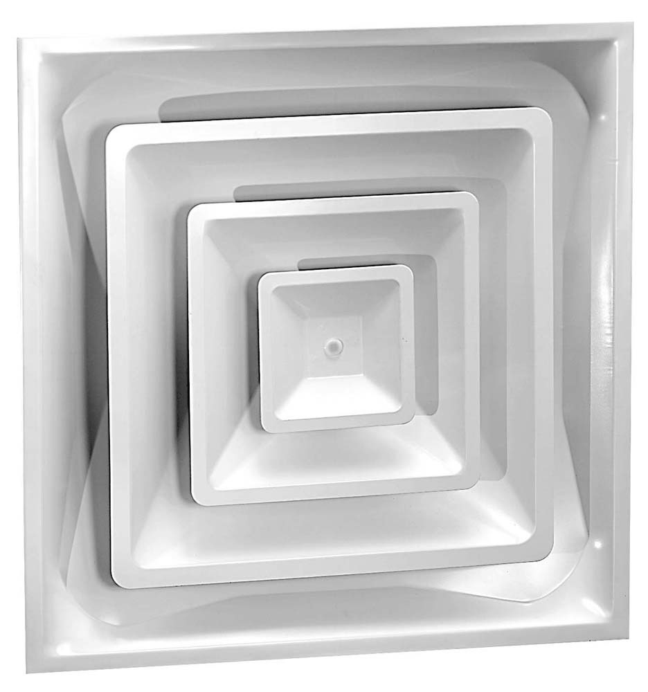 """6"""" Steel Fixed Pattern Duct Diffuser with Damper - Bright White, 3-Cone Face"""