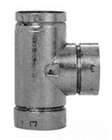 "5"" Round Double Wall Duct Tee, Galvanized Steel/Aluminum"