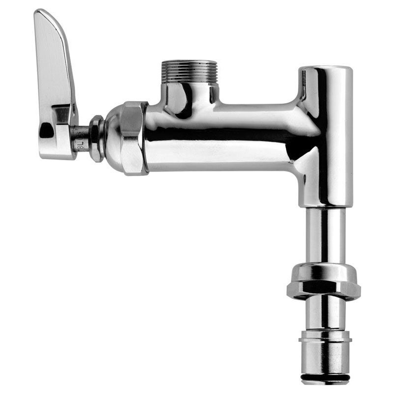 Pre-Rinse Add-On Faucet with Swing Spout & Single Lever Handle - Polished Chrome Brass, Deck Mount, 1/4 Turn, 9.46 GPM