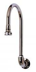 Wall Mount Rigid Gooseneck Swivel Faucet Spout - Chrome Plated Brass