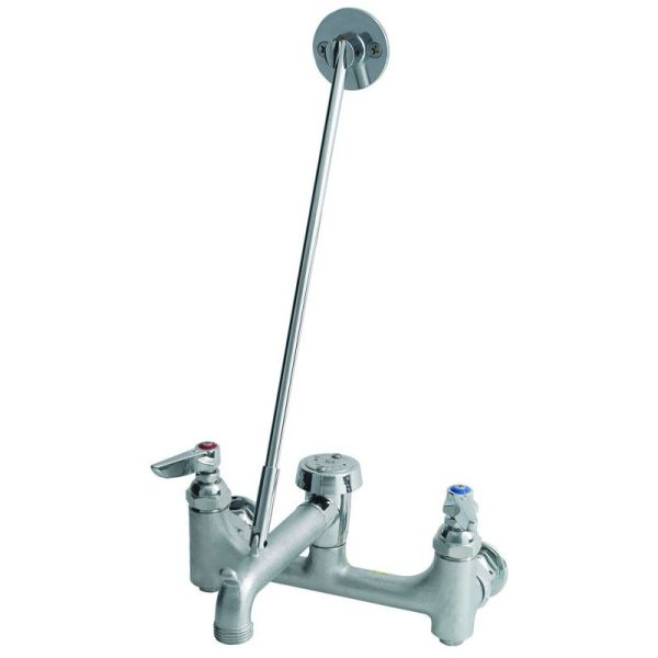 Service Sink Faucet with Two Lever Handle - Rough Chrome Plated Brass, Wall Mount, 12.96 GPM