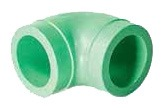 "6"" Fusiolen Polypropylene 90D Straight Elbow - green pipe, SDR 11, Butt Fusion"