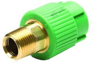 "1-1/2"" Fusiolen Polypropylene / Brass Transition Piece - Hex / Straight, Green"