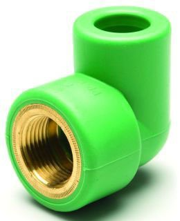 "3/4 X 3/4"" Fusiolen Polypropylene/Brass Transition 90D Elbow"