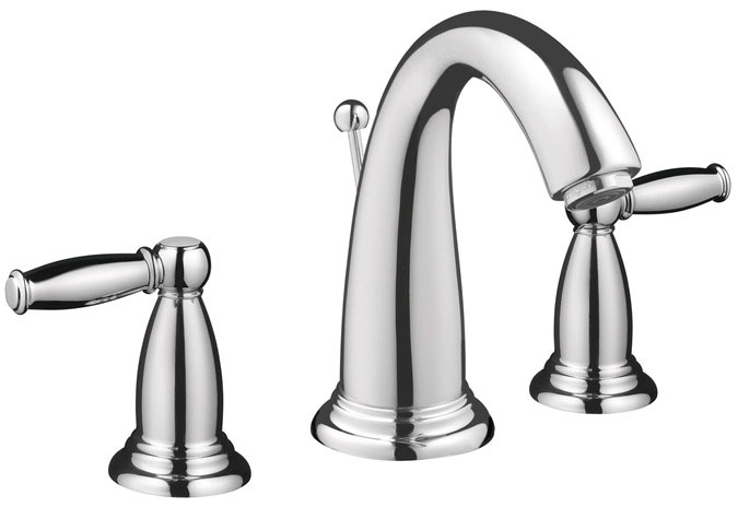 Bathroom Sink Faucet with Swing Spout & Two Lever Handle - Swing C, Chrome Plated, Deck Mount, 1.2 GPM