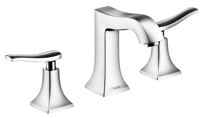 Bathroom Sink Faucet with Two Lever Handle - Metris C, Chrome Plated, Deck Mount, 1.2 GPM