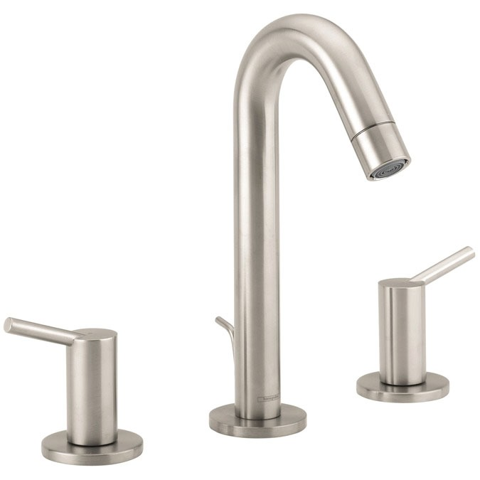 Bathroom Sink Faucet with Two Lever Handle - Talis S, Brushed Nickel, Deck Mount, 1.2 GPM