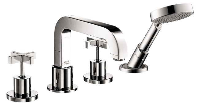 Deck Mount Non-Diverter Spout Tub Trim Set - Axor Citterio, Two Cross Handle, 5 GPM, Chrome Plated