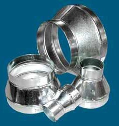 "5 X 4"" Round Taper Single Wall Duct Reducer, Galvanized Steel"
