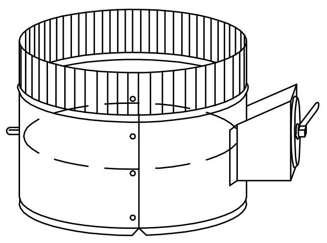 """6"""" Spin-In Metal Duct Start Collar With Damper - With 1/4"""" Rod and Regulator 2"""" Stand Off"""