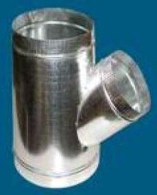"""10 X 10 X 4"""" Round Lateral Single Wall Reducing 45D Duct Wye, Galvanized Steel"""
