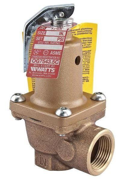 "3/4"" Bronze Boiler Pressure Relief Valve - FPT, 125 psi"