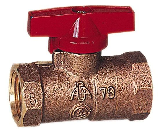 "1/2"" Brass Gas Ball Valve - Lever Handle, FPT, 5 psi WOG"