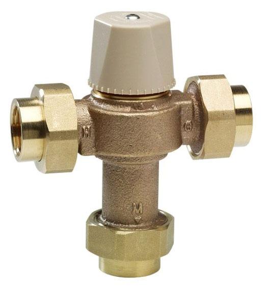 """3/4"""" Cast Copper Silicon Alloy Thermostatic Mixing Valve - NPT Union, 150 psi"""
