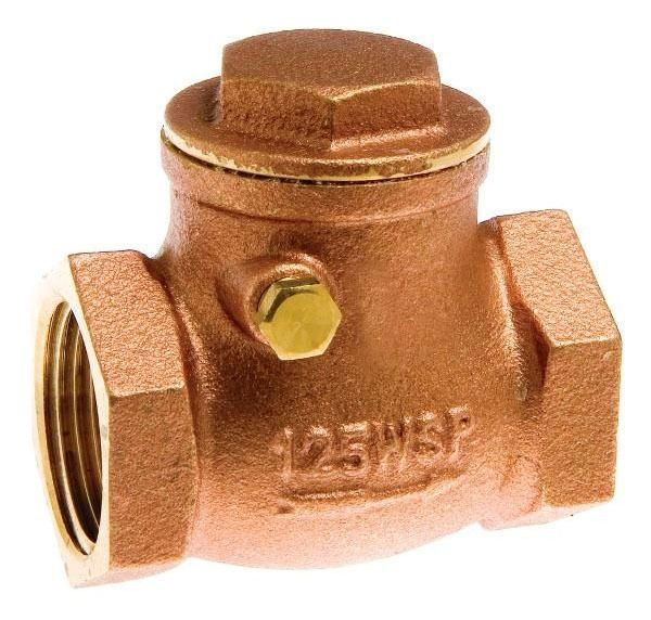 "3/4"" Brass Swing Check Valve - FPT, 200 psi WOG, 125 psi SWP"