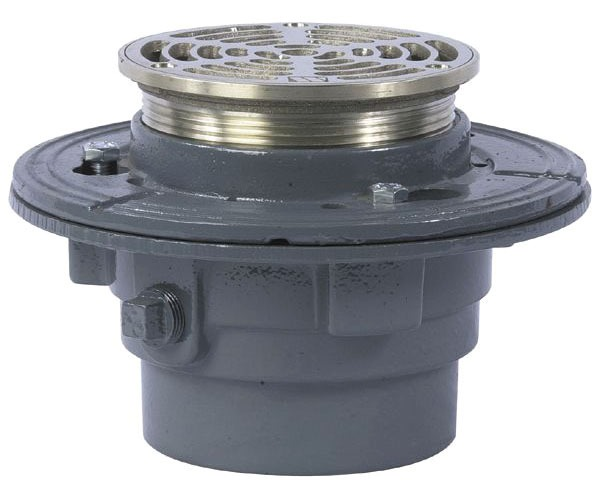 "4"" No Hub Floor Drain - Adjustable, Round Top, Cast Iron"