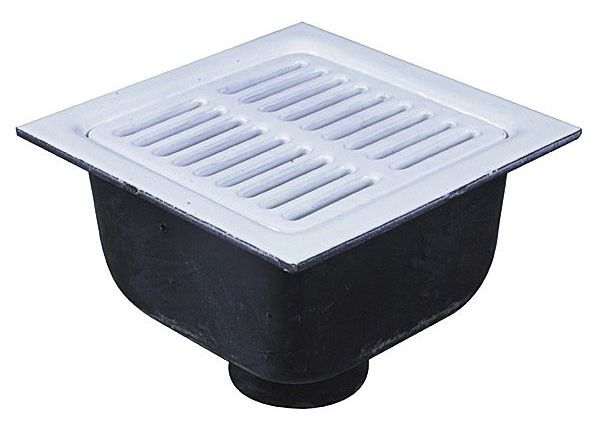 "4"" No Hub Outlet Sanitary Floor Sink - Bottom Outlet, Enamel Coated Cast Iron Square Top"