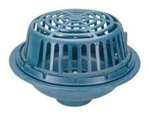 """6"""" No Hub Roof Drain - Bottom Outlet, Low Silhouette Dome, Cast Iron"""